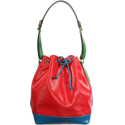 VTG LOUIS VUITTON EPI TRI-COLOR LEATHER BUCKET SHOULDER BAG
