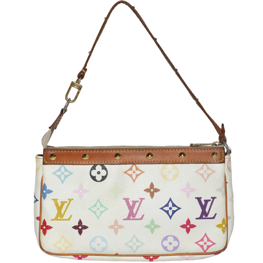 Vintage 2000s Louis Vuitton Takashi Murakami Pochette Monogram Leather Shoulder Bag
