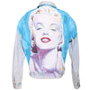 Vtg 90s GUESS Handpainted MARILYN MONROE Oversized Light Wash Denim Long Jean Jacket L xL M