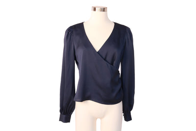 SIDE BUTTON SILKY WRAP NAVY BLOUSE - Mint Market