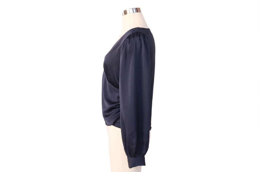 SIDE BUTTON SILKY WRAP NAVY BLOUSE
