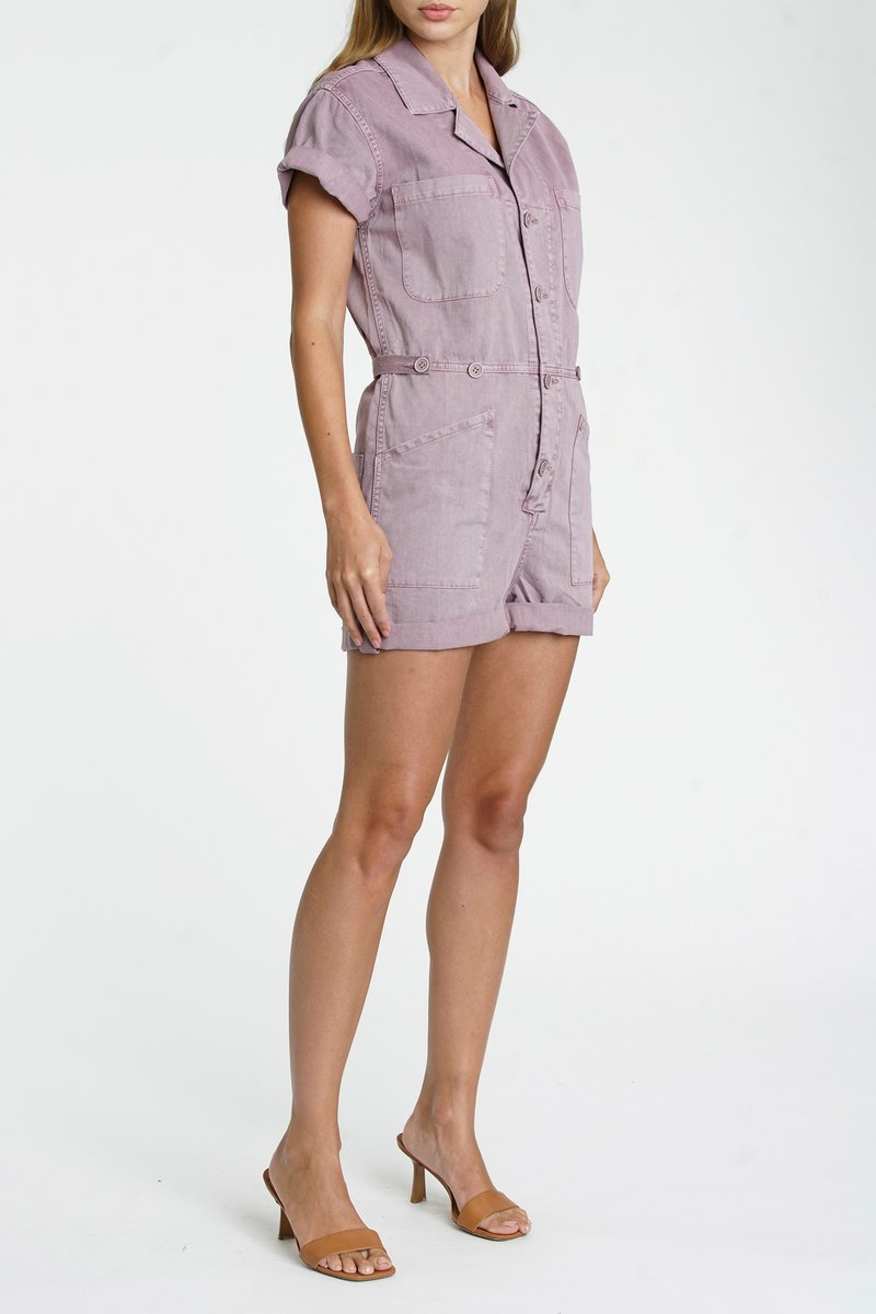 Pistola - Parker Cotton Worker Shorts Romper - Lilac Dust