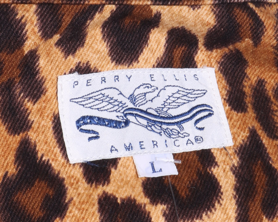 Vtg 80s PERRY ELLIS Oversized Leopard Animal Print DENIM Jean Jacket L xL