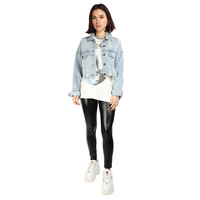 Jackie Cropped Distressed Denim Jacket
