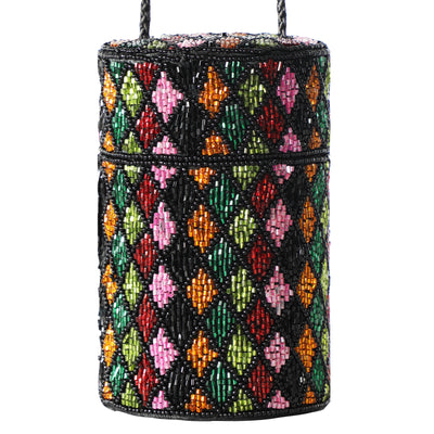 Vtg Bob Mackie Diamond Patter Beaded Cylinder Crossbody Back