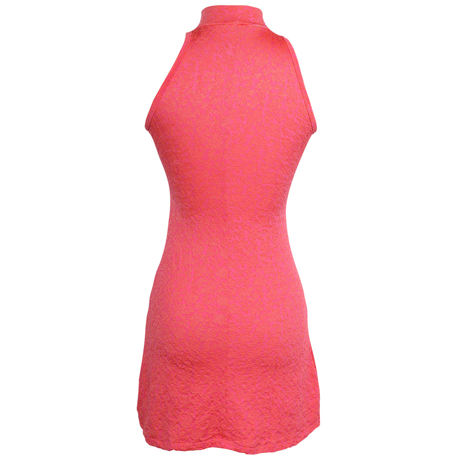 Vtg 90s Edie Neon Pink Mock Neck Skater Mini Dress