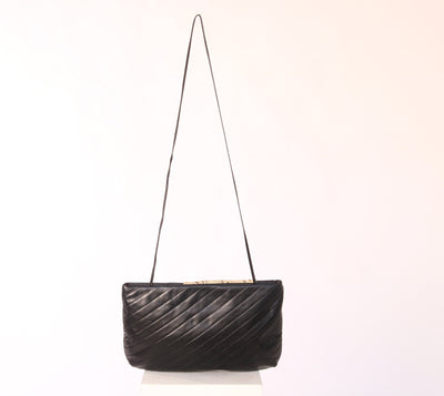 VINTAGE 1980'S BLACK LEATHER SNAKE CROSSBODY BAG - Mint Market