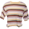 Vtg 70s Cropped Striped Ringer Retro T Shirt Crop Top S M