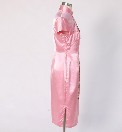 Vtg 60s CHEONGSAM PENCIL Pink Asian Dragon Silk Dress Chinese Sequin Midi Dress - Mint Market