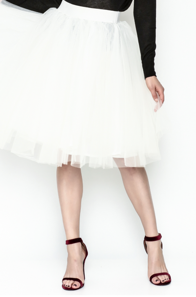 'CARRIE' CLASSIC WHITE TULLE SKIRT - Mint Market