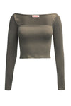 Re:Named Ribbed Ots L/S Crop Top - Olive