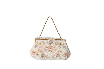 VINTAGE 1950'S HAND MADE WHITE FLORAL BEADED BAG - Mint Market