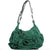 Vintage 2000s Yves Saint Laurent Emerald Suede Nadja Rose Ruffle Tote Shoulder Bag