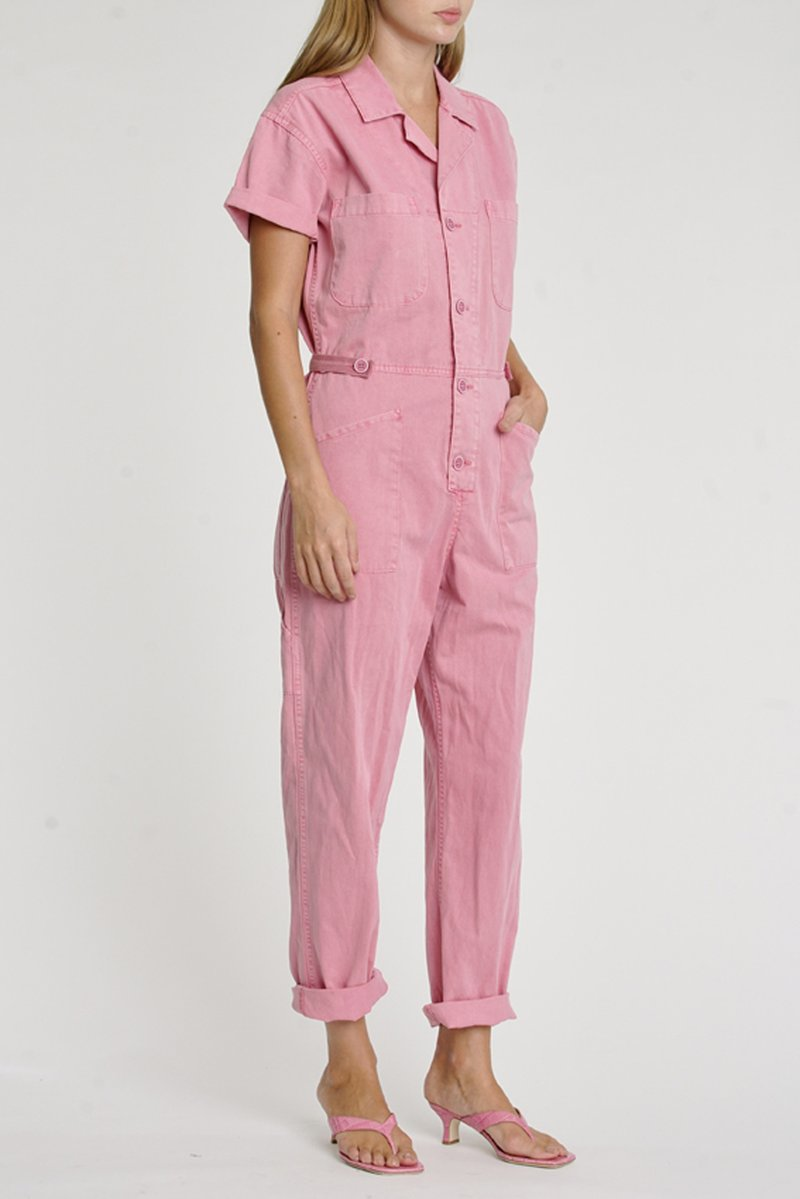 Pistola - Grover Vegan Leather Jumpsuit - Flamingo