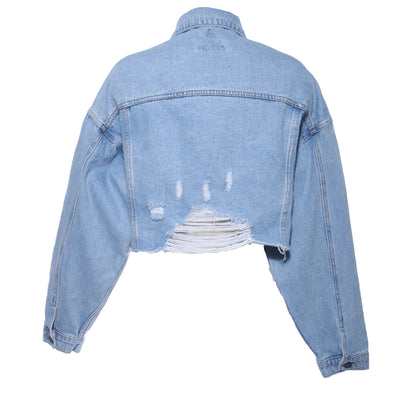 DESTROYED CROPPED DENIM JACKET - Mint Market