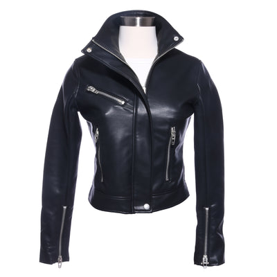 ZIP-UP HIGH COLLAR LEATHER MOTO JACKET - Mint Market