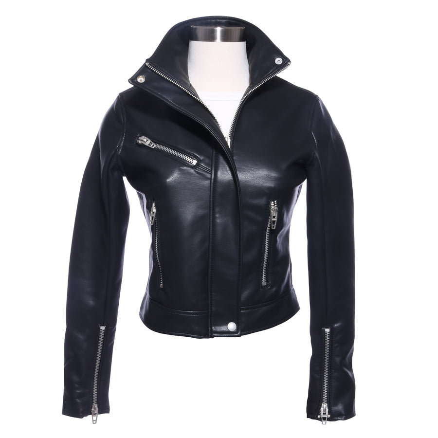 ZIP-UP HIGH COLLAR LEATHER MOTO JACKET