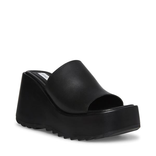 Steve Madden PEPE30 Black Leather Square Toe Chunky Rubber Sole Wedge Slide Sandal