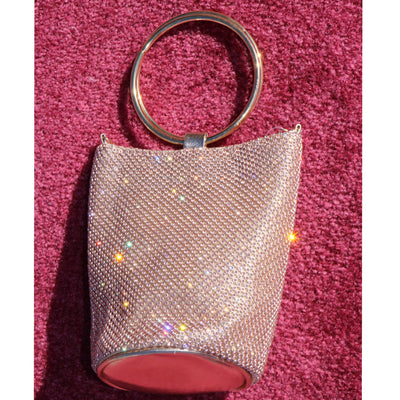 Studio 54 Sparkly Rhinestone Circle Handle Mesh Pouch Mini Crossbody Party Bag
