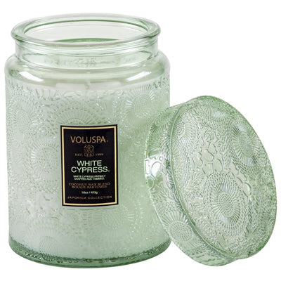 VOLUSPA WHITE CYPRESS LARGE GLASS JAR CANDLE