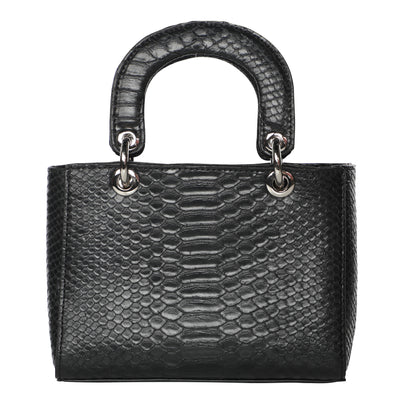 Snakeskin Lady Dior-Style Mini Top Handle Bag - Black