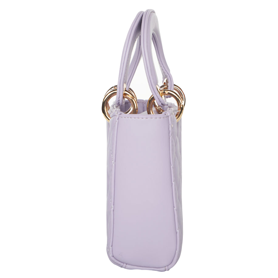 Quilted Lady Dior-Style Mini Top Handle Bag - Lilac