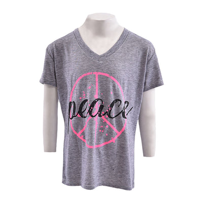 Short Sleeve V Neck with Peace Splatter