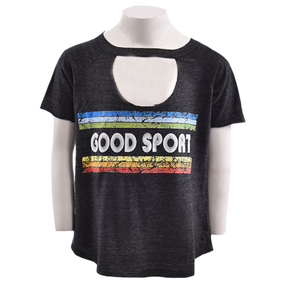 Short Sleeve Choker Top Good Sport