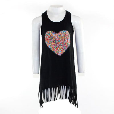 Jersey Fringe Dress with Sprinkle Heart
