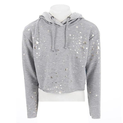 Cropped Heather Hooded Sweatshirt with Foil Star