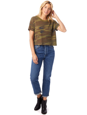 Camo Short Sleeve Crop Tee