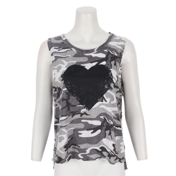 Camo Muscle Tank with Black Heart