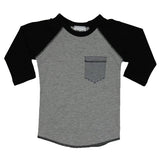 Raglan Gry Black with Stripe Pocket