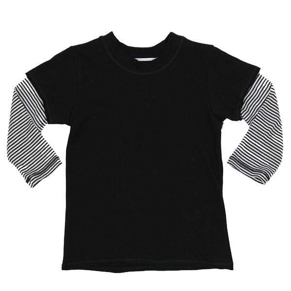 Long Sleeve Layered Tee Black w White Stripe Sleev