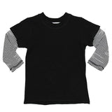 Long Sleeve Layered Tee Blk with White Stripe Slee