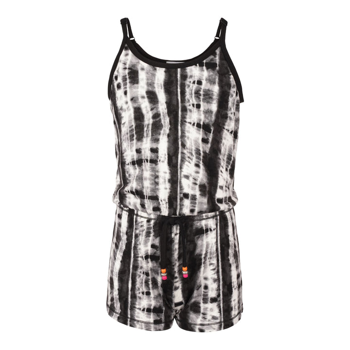 Black & White Tie Dye Romper with Tie and Beads