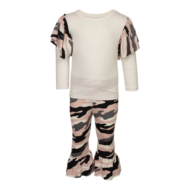 Camo Ruffle Shoulder Tee and Bell Pant Set