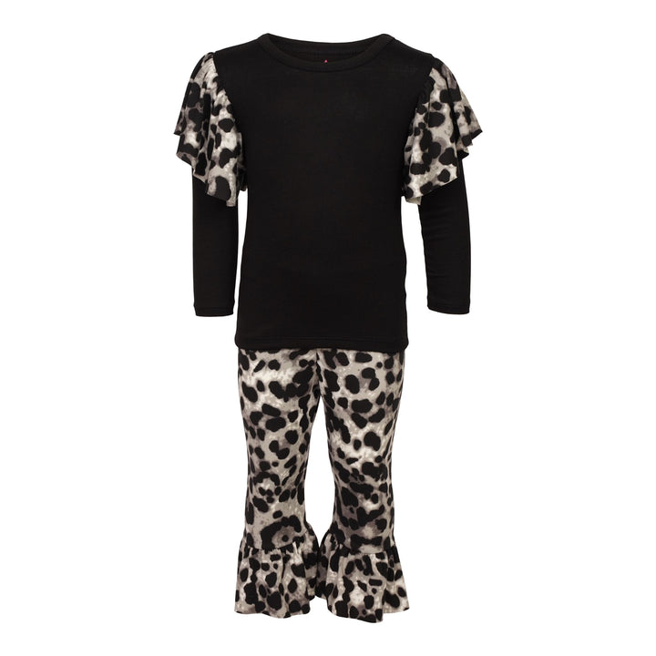 Cheetah Ruffle Shoulder Tee and Bell Pant Set
