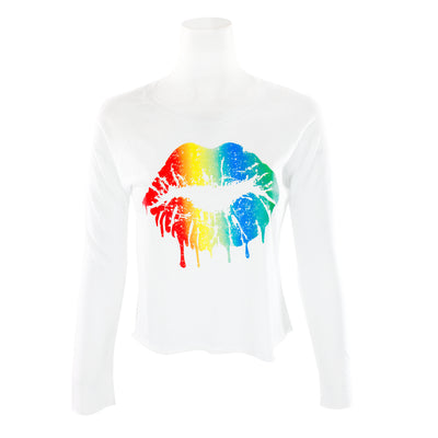 Long Sleeve Rainbow Lips Crop Cut Crew