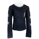 Long Sleeve Top with Silver Lightning Bolt Stars on Sleeve