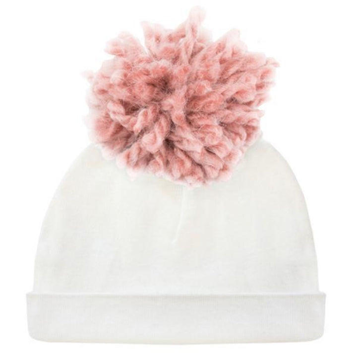 Hat with Blush Yarn Pom