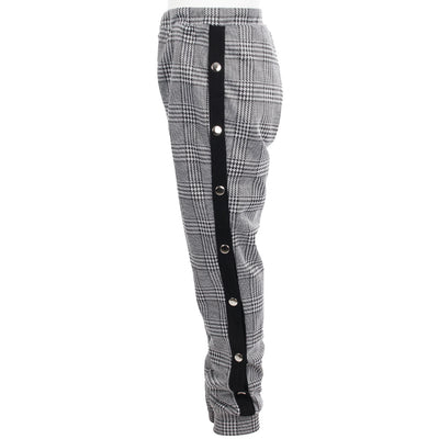 Plaid Jogger with Black Stripe