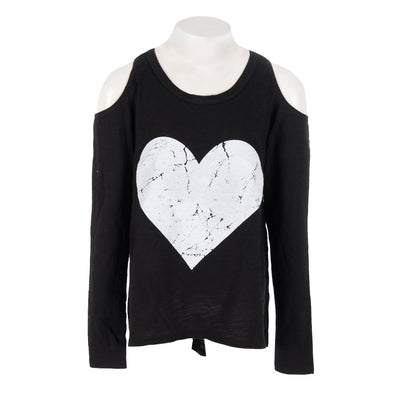 Long Sleeve Cold Shoulder Top with White Heart
