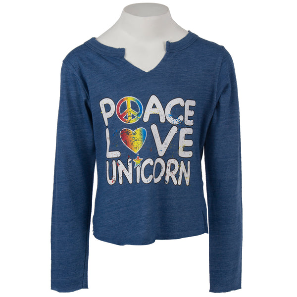 Long Sleeve Notch Neck with Peace Love Unicorn