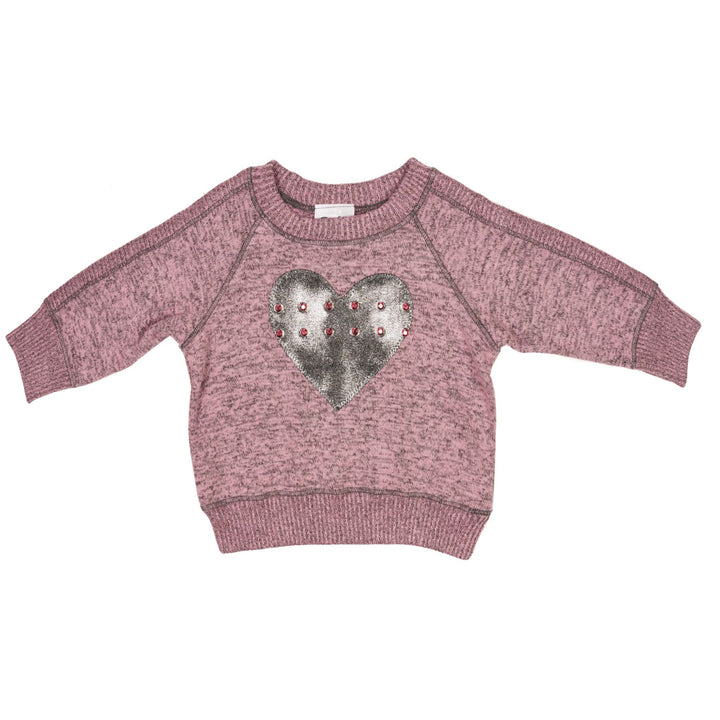 Sweatshirt Pink Hacci with Hearts and Studs