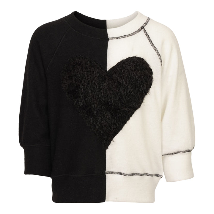 Fuzzy Heart Two Tone Top