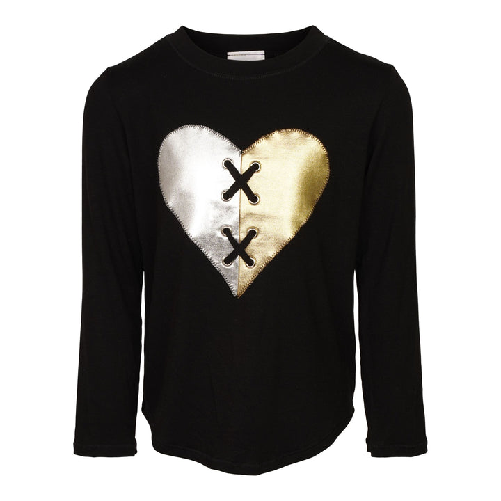 Gold & Sliver Lace Up Heart Shirt