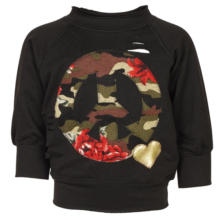 Camo Rose Peace Destructed Sweatshirt