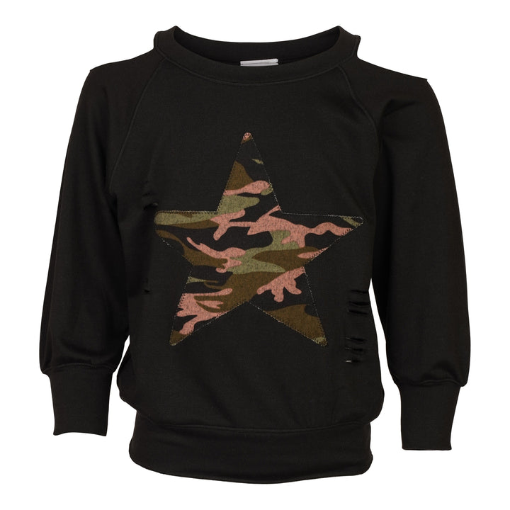 Camo Star Cold Shoulder Sweatshirt