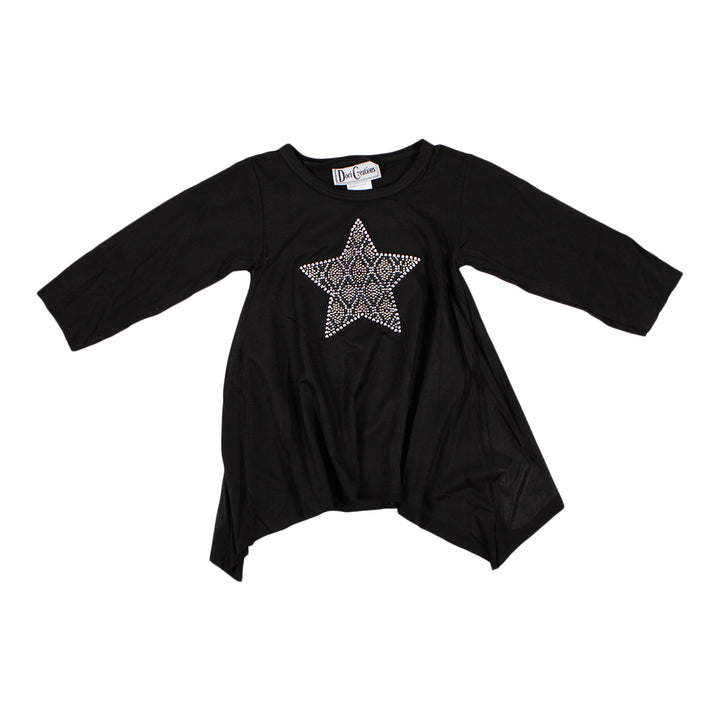 Long Sleeve Black Angle Tee with Pink/Black/Silver with Star